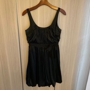 LAUNDRY 100% Silk Babydoll black mini dress